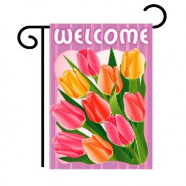 Welcome Tulips Garden Flag