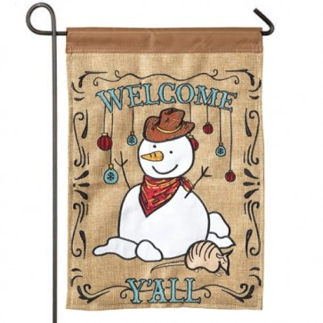 Welcome Y'all Snowman Garden Flag