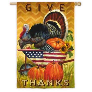 Wheelbarrow Turkey House Flag