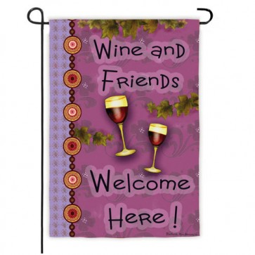 Wine and Friends Garden Flag