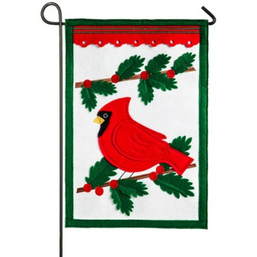 Winter Cardinal Felt Garden Flag
