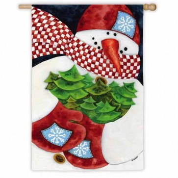Winter Snowman House Flag