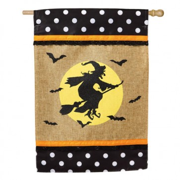 Witch on Broom (Burlap House Flag)