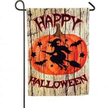 A Witch on a Broom Halloween Garden Flag
