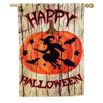 A Witch on a Broom Halloween House Flag
