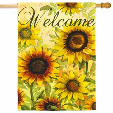 Yellow Sunflowers Welcome House Flag