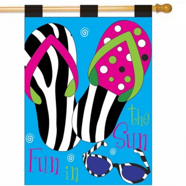 Zebra Flip Flops Summer House Flag