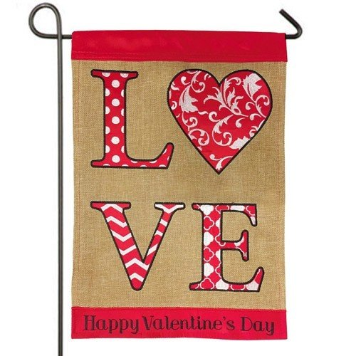 Superbe Burlap Happy Valentines Day Garden Flag