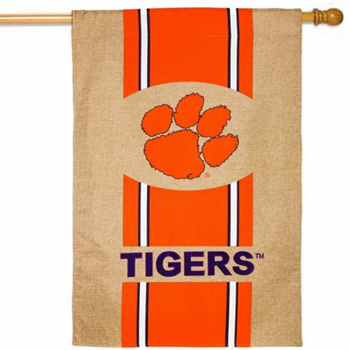 Clemson Tigers Burlap College House Flag
