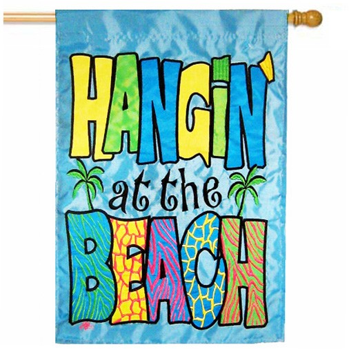 hangin at the beach summer house flag - Decorative House Flags