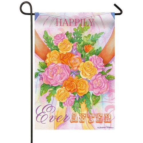 Good Happily Ever After Wedding Garden Flag