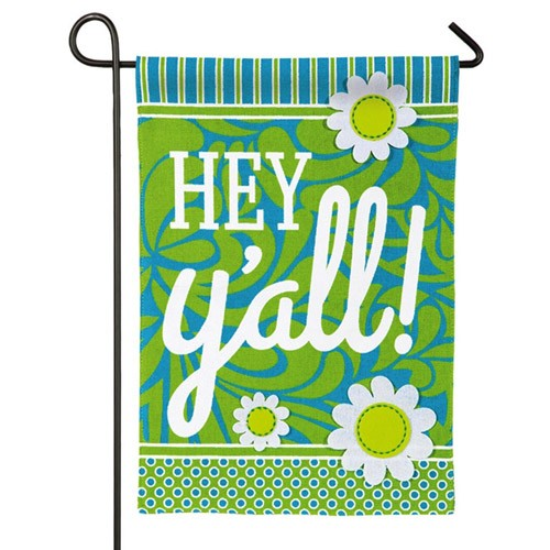 Hey Y\'all Burlap Garden Flag - Welcome Flags - Themes