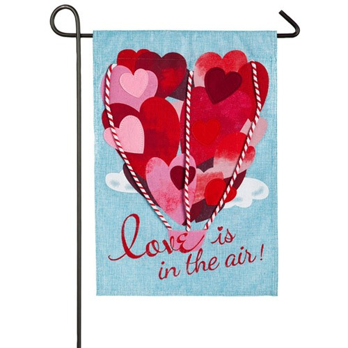 Love Is In The Air Burlap Valentines Day Garden Flag