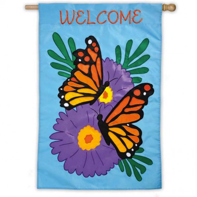 Monarch Butterfly House Flag Welcome House Flags