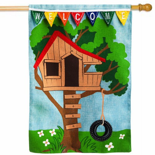 Tree House Spring And Summer House Flag Spring Flags