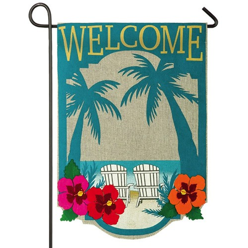 Welcome To Paradise Burlap Garden Flag Regional Flags Themes