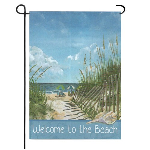 Delightful Welcome To The Beach Summer Garden Flag