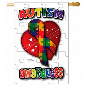 Autism Awareness House Flag