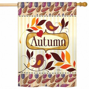 Birds Autumn House Flag