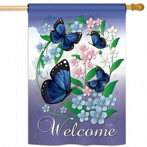 Blue Butterflies House Flag
