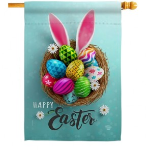 Bunny Easter Eggs House Flag