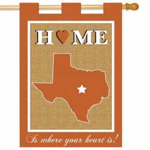 Texas Home Burlap House Flag