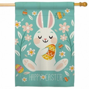 Cheerful Easter Bunny House Flag