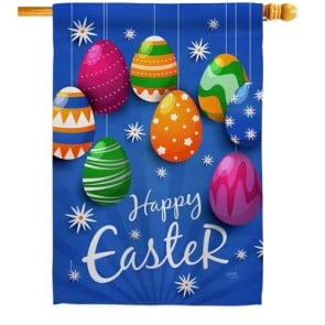 Colorful Eggs Ornament House Flag