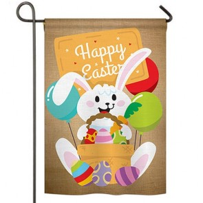 Colourful Happy Easter Egg with Bunny Garden Flag