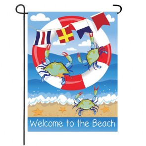 Crab Welcome Summer Garden Flag