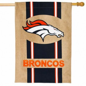 Denver Broncos Burlap House Flag