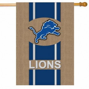 Detroit Lions Burlap House Flag