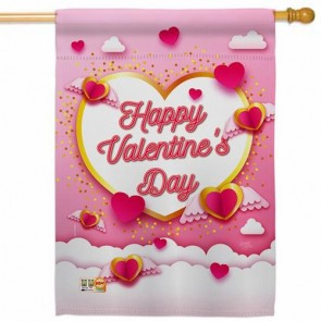 Flying Heart Valentine House Flag