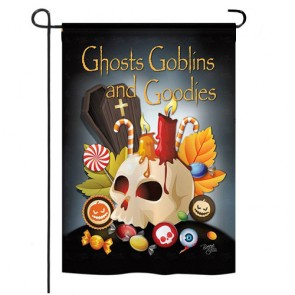Ghosts, Goblins and Goodies Halloween Garden Flag