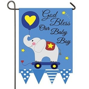 God Bless our Baby Boy Garden Flag
