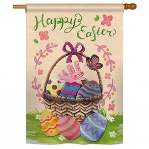Happy Easter Colorful Happy Easter Egg  House Flag