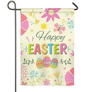 Happy Easter Colorful Flowers Garden Flag