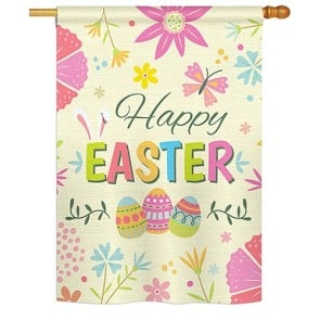 Happy Easter Colorful Flowers House Flag