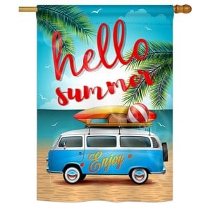 Hello Summer Enjoy Bus House Flag