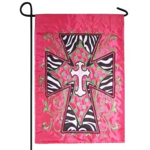 Hot Pink and Lime Green Cross Garden Flag