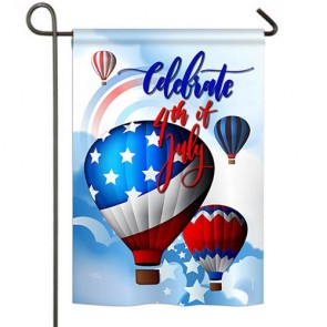 July 4th Hot Air Balloons Garden Flag