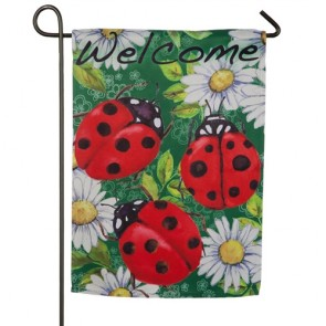 Ladybugs on Green Garden Flag