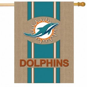 Miami Dolphins Burlap House Flag