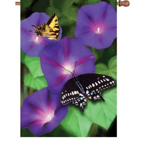 Morning Glory Swallowtails House Flag