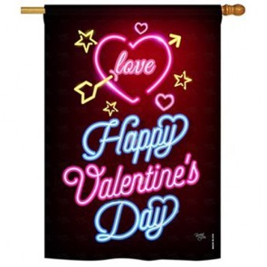 Neon Valentine's Love House Flag