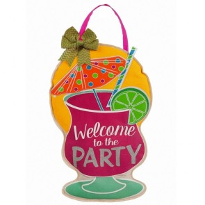 Party Welcome Burlap Door Decor