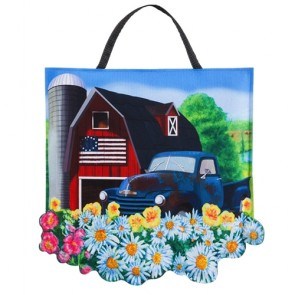 Patriotic Barn  Felt Door Hanger