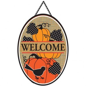 Pumpkin Stack Door Banner Warm
