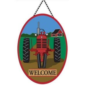 Red Tractor Welcome Door Decor