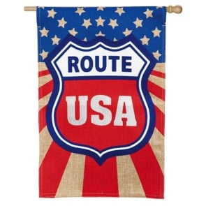 Route USA Burlap House Flag